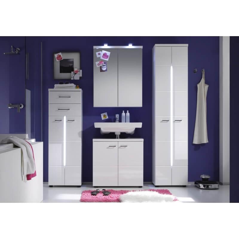 colonne de salle de bain design blanche avec clairage blondie matelpro. Black Bedroom Furniture Sets. Home Design Ideas