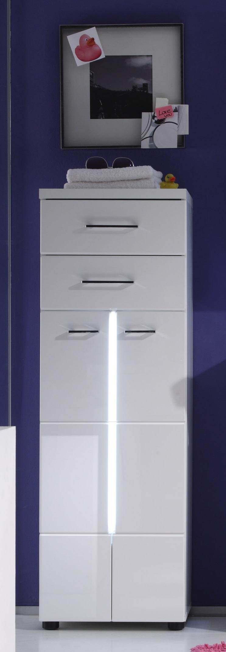 Meuble de salle de bain design blanc 2 portes/2 tiroirs avec éclairage Blondie