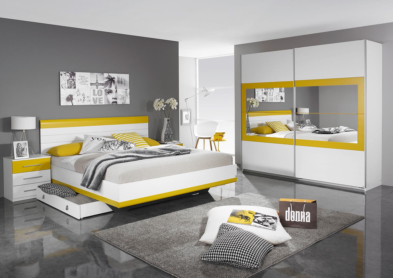 Chambre adulte design coloris blanc/jaune Genaro