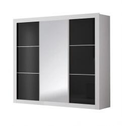 Armoire design 3 portes coulissantes blanche et noire Traviata