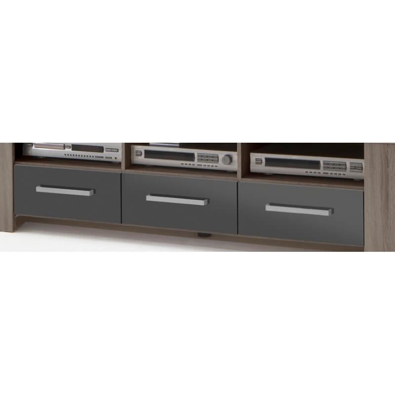 meuble tv contemporain 3 tiroirs ch ne truffe gris laqu loise. Black Bedroom Furniture Sets. Home Design Ideas