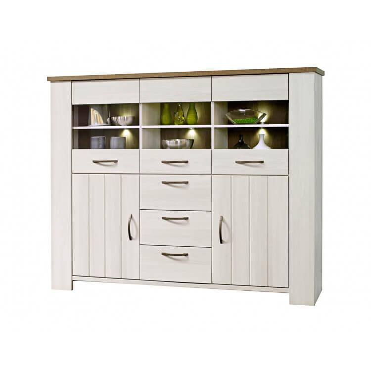 meuble de rangement contemporain 5 portes 3 tiroirs ch ne blanchy gris hardy. Black Bedroom Furniture Sets. Home Design Ideas