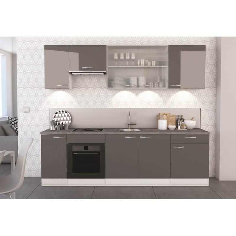 Cuisine compl te contemporaine blanc mat gris brillant 260 cm tripoli matelpro - Cuisine blanc mat ...