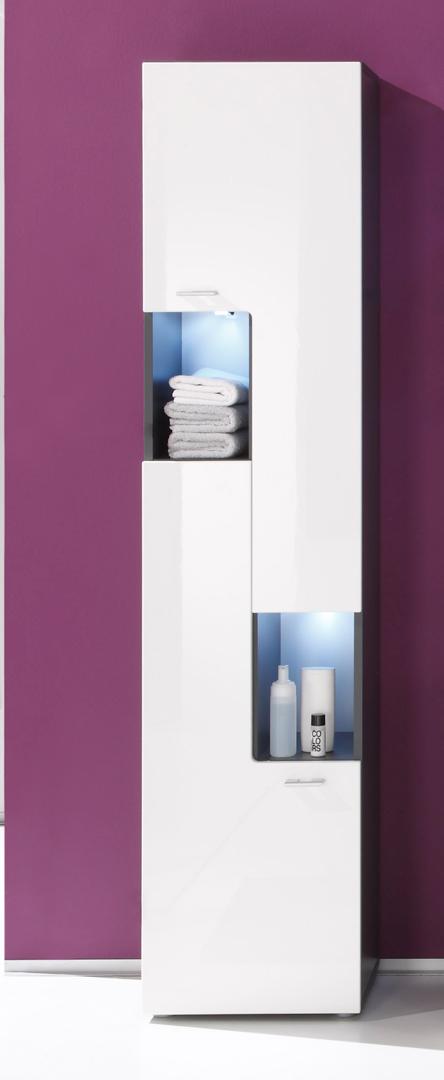 Colonne de salle de bain design  avec éclairage coloris gris/blanc brillant Trevis