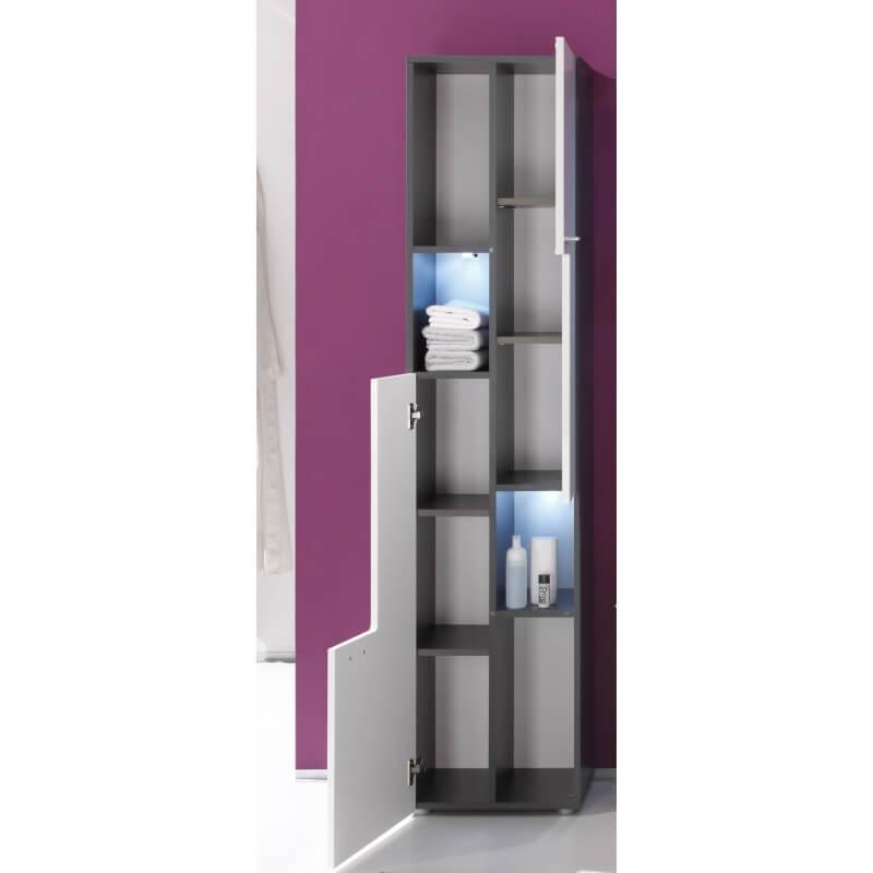 Colonne de salle de bain design avec clairage coloris gris blanc brillant trevis matelpro - Eclairage salle de bain design ...