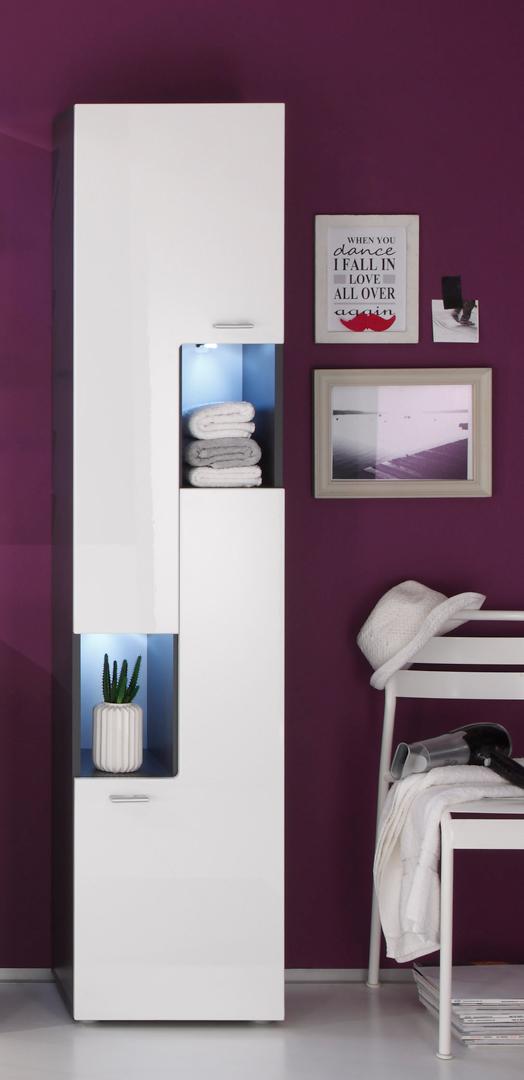 Colonne de salle de bain design gris/blanc brillant Trevis II