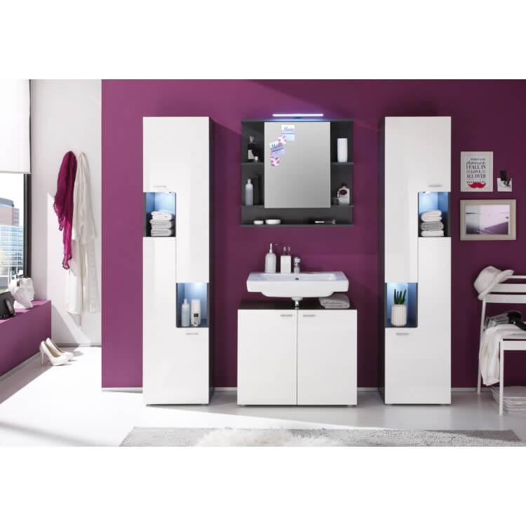 Ensemble de salle de bain design coloris gris/blanc brillant Trevis