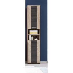Colonne de salle de bain contemporaine chêne clair/gris Katar