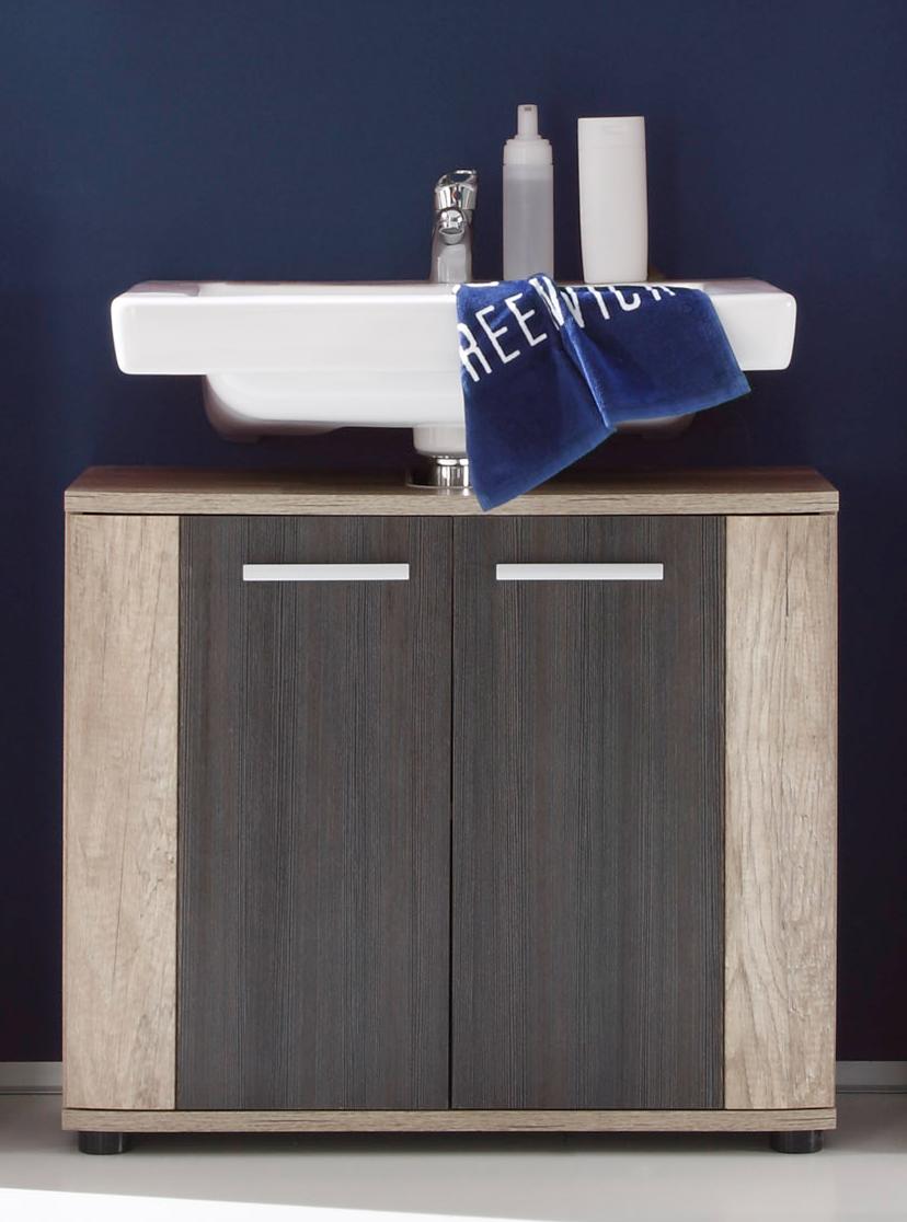 Meuble sous lavabo contemporain 2 portes chêne clair/gris Katar