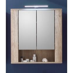 Armoire de toilette contemporaine avec éclairage chêne clair Katar