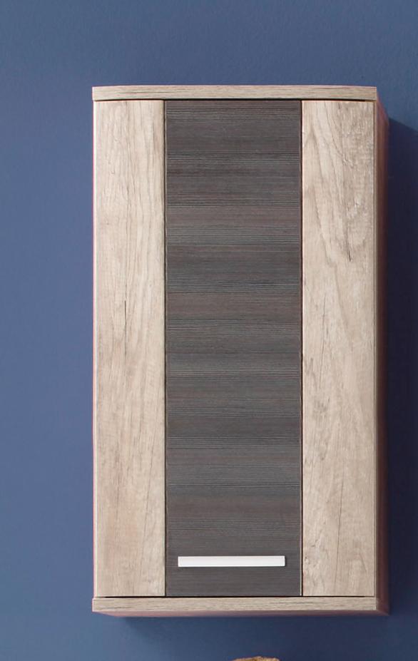 Meuble haut de salle de bain contemporain 1 porte chêne clair/gris Katar