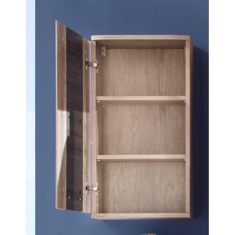 Meuble haut de salle de bain contemporain 1 porte ch ne clair gris katar matelpro - Meuble chene clair contemporain ...