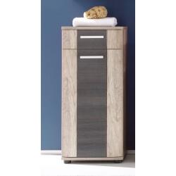 Meuble bas de salle de bain contemporain 1 porte/1 tiroir chêne clair/gris Katar