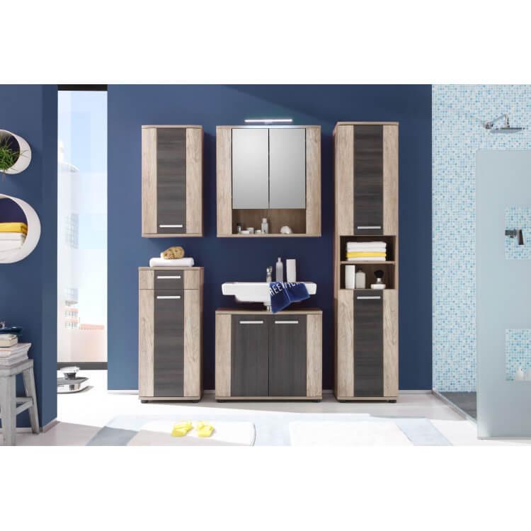 Ensemble de salle de bain contemporain chêne clair/gris Katar