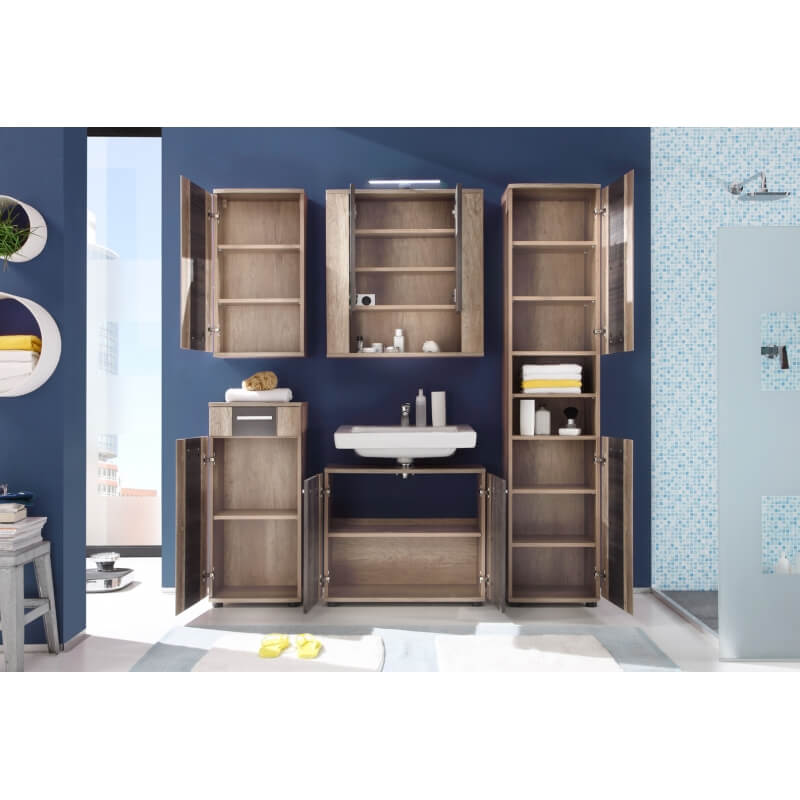 ensemble de salle de bain contemporain ch ne clair gris katar matelpro. Black Bedroom Furniture Sets. Home Design Ideas