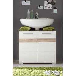 Meuble sous lavabo contemporain 2 portes chêne clair/blanc brillant Corleone