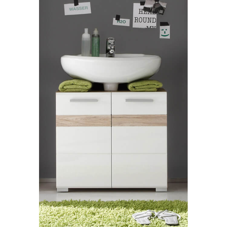 Meuble sous lavabo contemporain chêne clair/blanc brillant Corleone