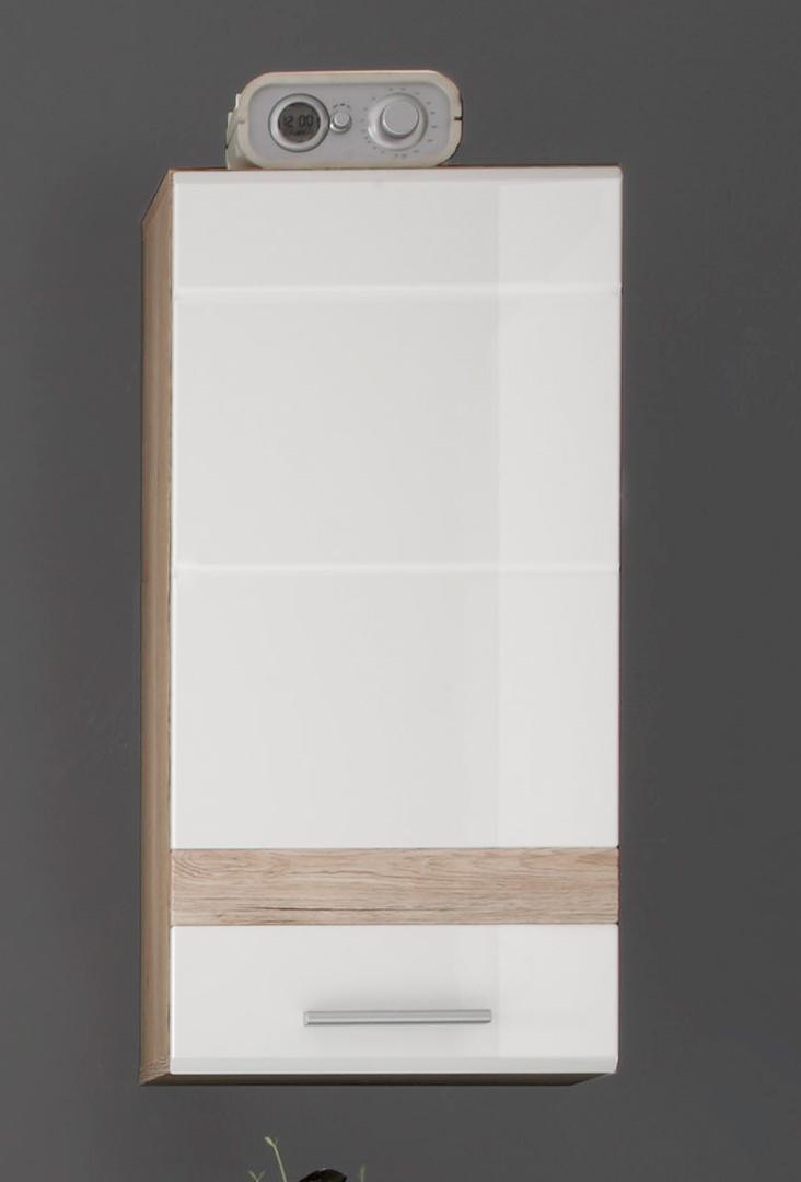 Meuble haut de salle de bain contemporain chêne clair/blanc brillant Corleone