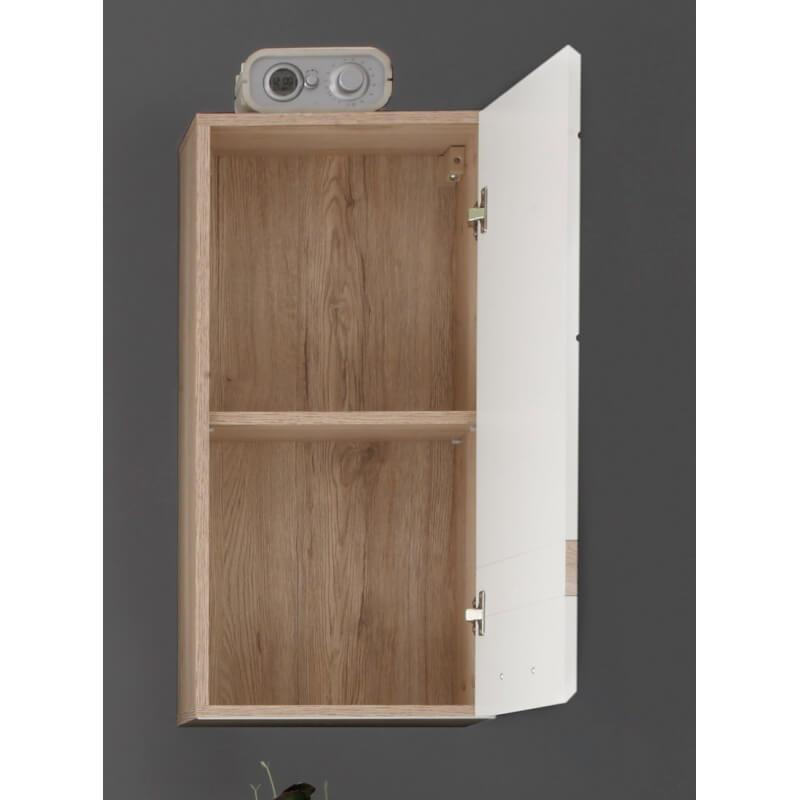 meuble haut de salle de bain contemporain 1 porte ch ne clair blanc brillant corleone matelpro. Black Bedroom Furniture Sets. Home Design Ideas