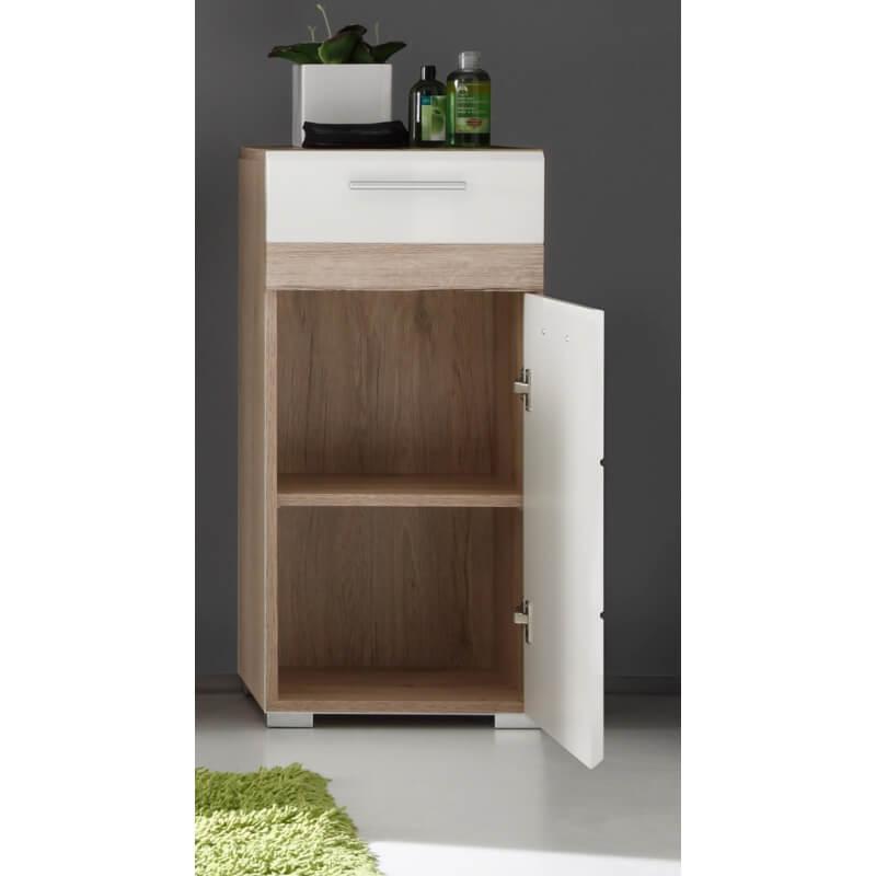 meuble bas de salle de bain contemporain 1 porte 1 tiroir ch ne clair blanc brillant corleone. Black Bedroom Furniture Sets. Home Design Ideas