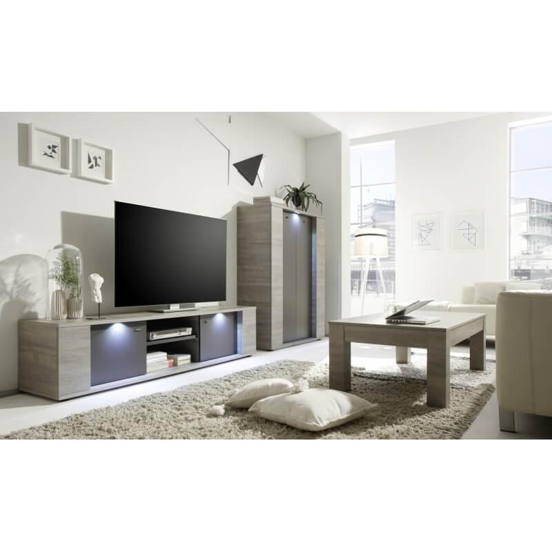 meuble tv contemporain 2 portes 1 niche avec clairage ch ne gris gris mat nessie. Black Bedroom Furniture Sets. Home Design Ideas