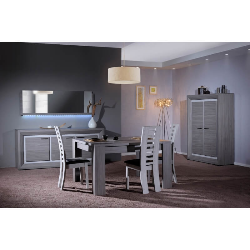 table de salle manger carr e contemporaine gris cendr. Black Bedroom Furniture Sets. Home Design Ideas