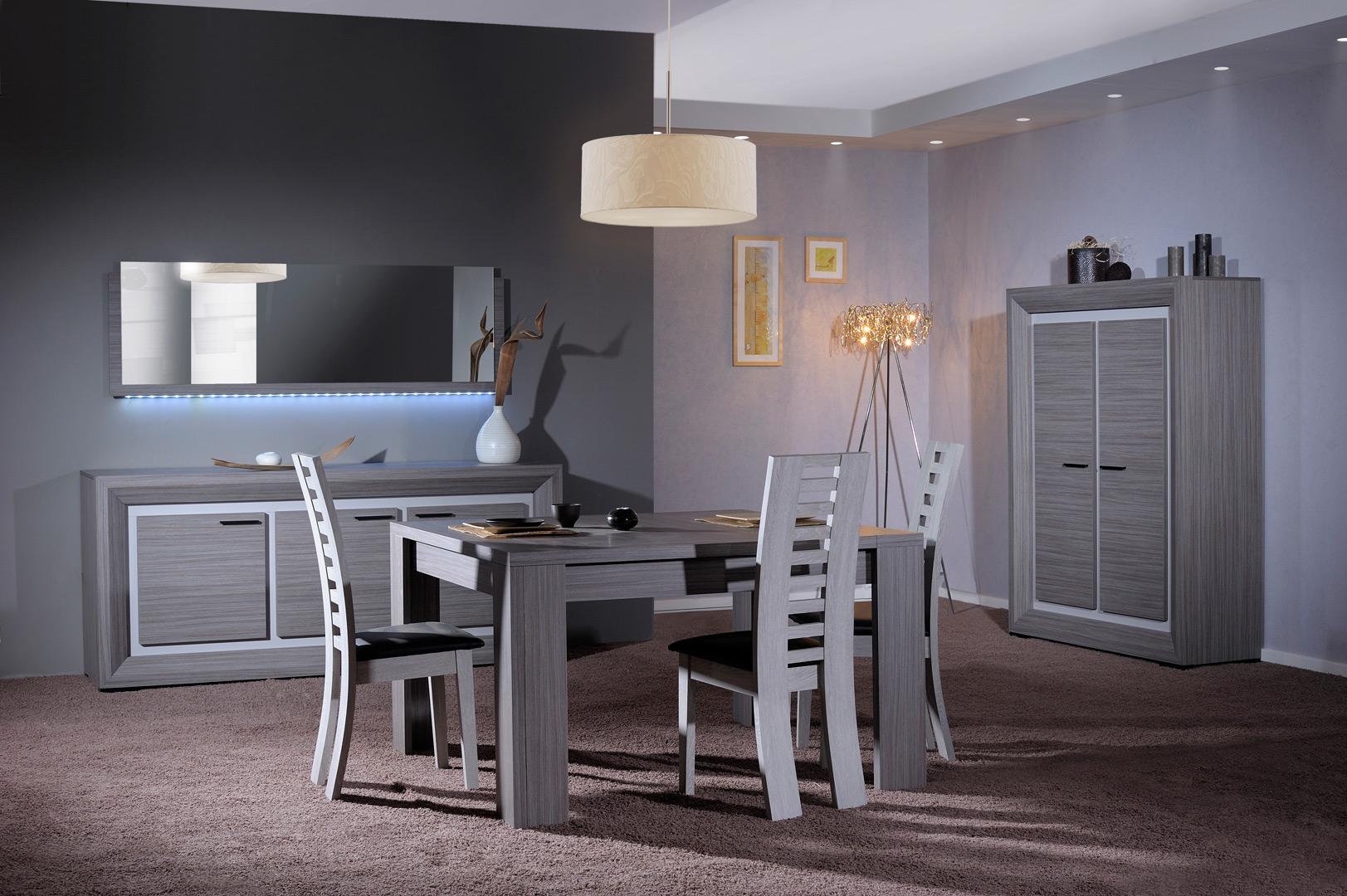 Salle à manger contemporaine gris cendré/gris brillant Shiny