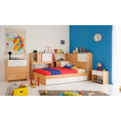Chambre enfant contemporaine coloris hêtre/blanc Spoon
