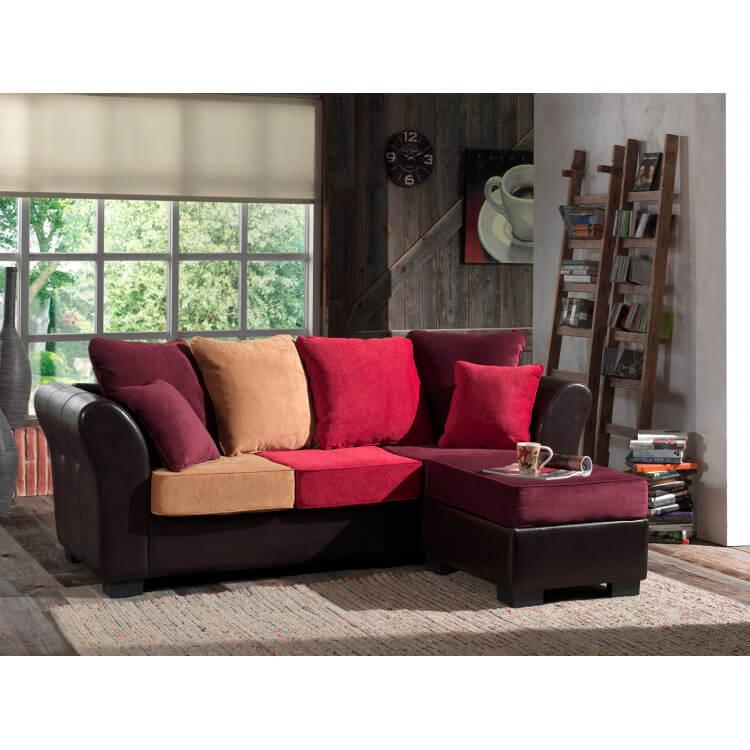 Canapé contemporain 3 places avec pouf en tissu et PU Divo