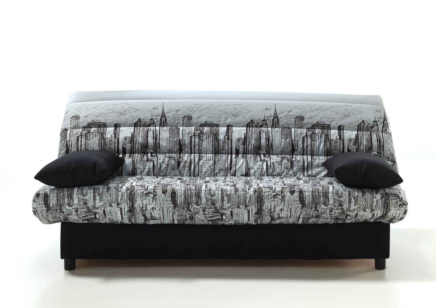 Canapé clic-clac noir/imprimé manhattan Okito