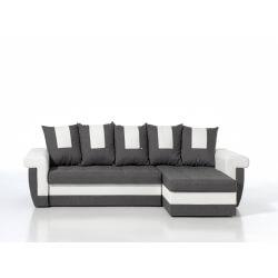 Canapé d'angle réversible convertible en tissu gris anthracite et PU blanc Grafix