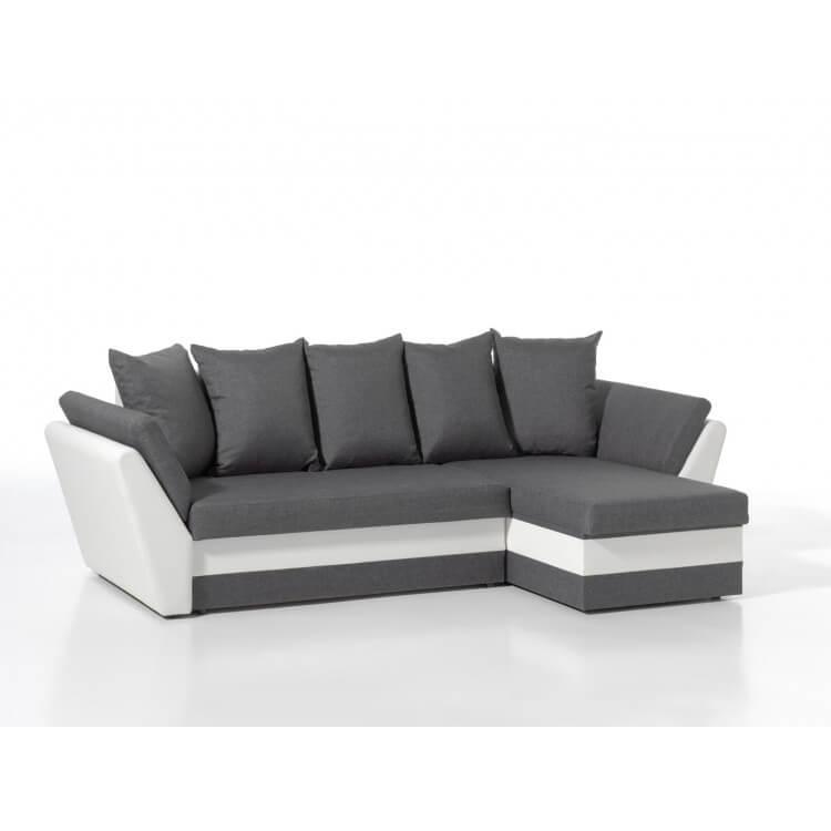 Canapé d'angle contemporain réversible convertible en tissu anthracite/PU blanc Enola