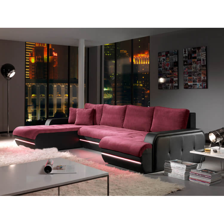 canap d 39 angle fixe design en tissu aubergine pu noir alamak matelpro. Black Bedroom Furniture Sets. Home Design Ideas