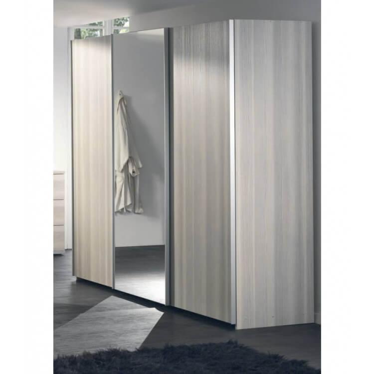 Armoire adulte contemporaine portes coulissantes frêne gris Stanley