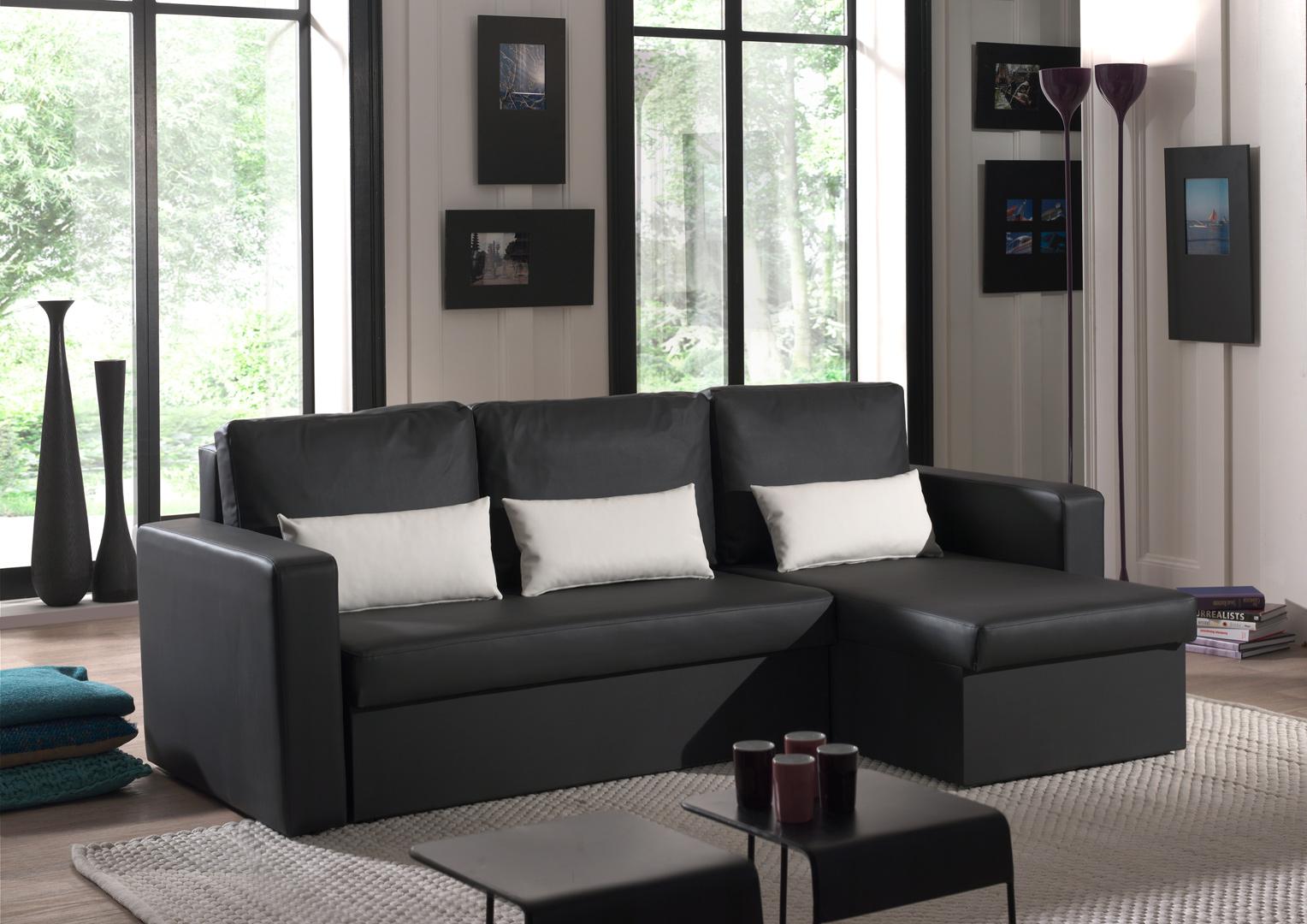 Canapé d'angle contemporain reversible convertible en PU noir/blanc Astérion