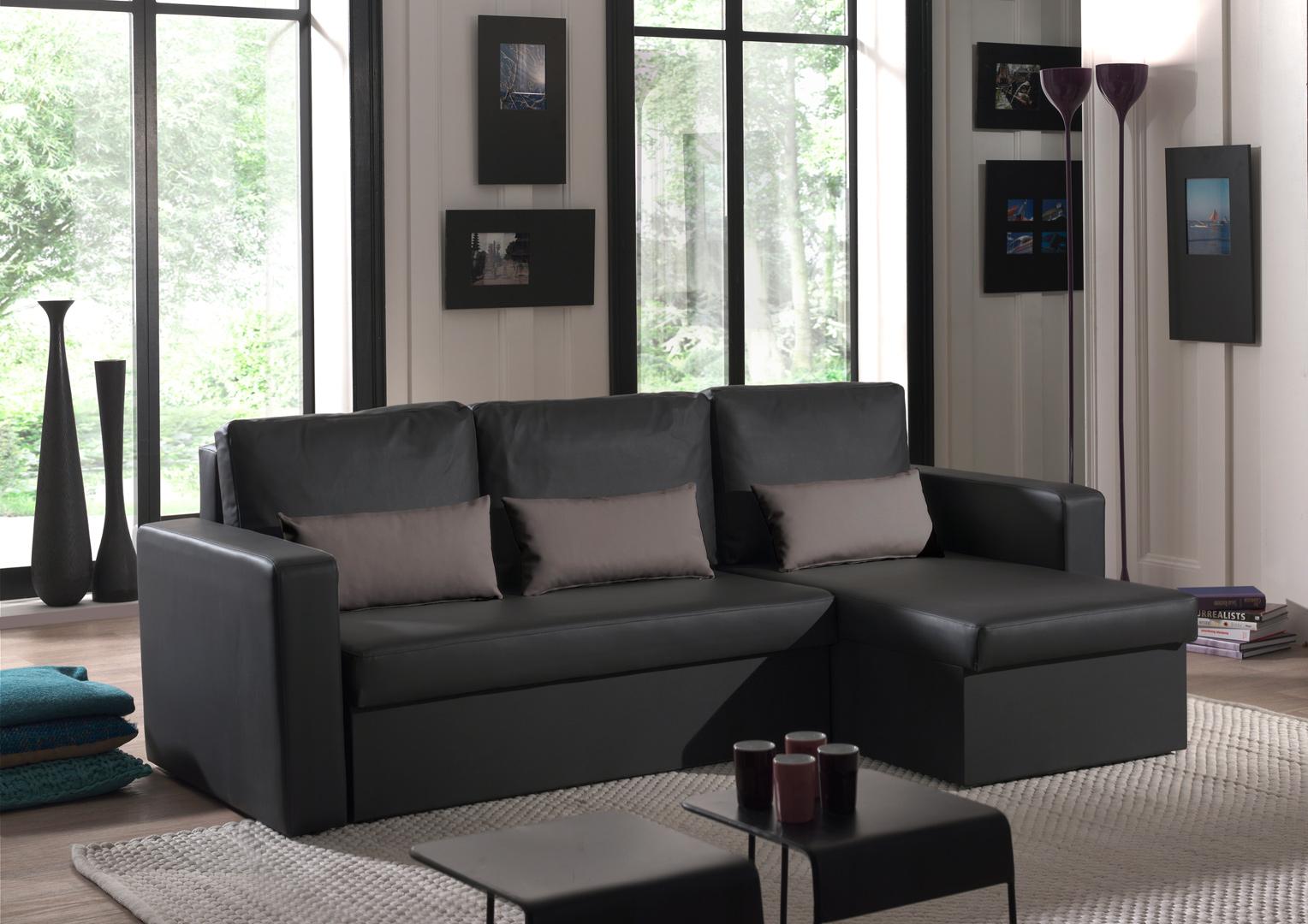 Canapé d'angle contemporain reversible convertible en PU noir/gris Astérion