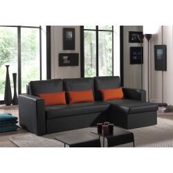 Canapé d'angle contemporain reversible convertible en PU noir/orange Astérion