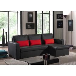Canapé d'angle contemporain reversible convertible en PU noir/rouge Astérion
