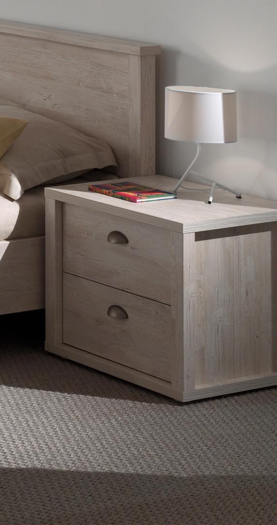 chevet contemporain 2 tiroirs ch ne clair yasmine. Black Bedroom Furniture Sets. Home Design Ideas