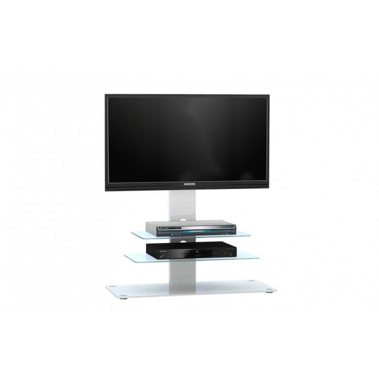 Meuble TV design métal blanc/verre blanc Fogo