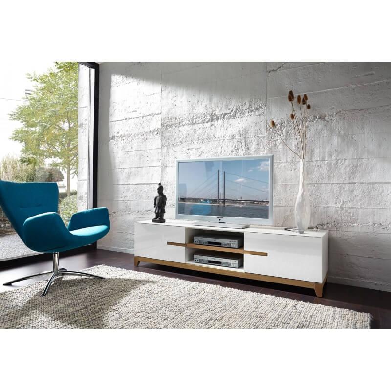 Meuble tv design blanc laqu ch ne riviero - Meuble tv design laque ...