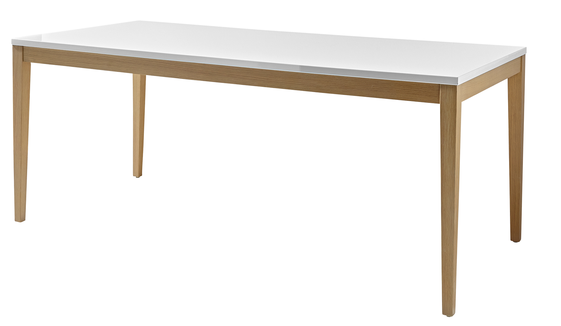 Table de salle à manger rectangulaire blanc laqué/chêne Riviero