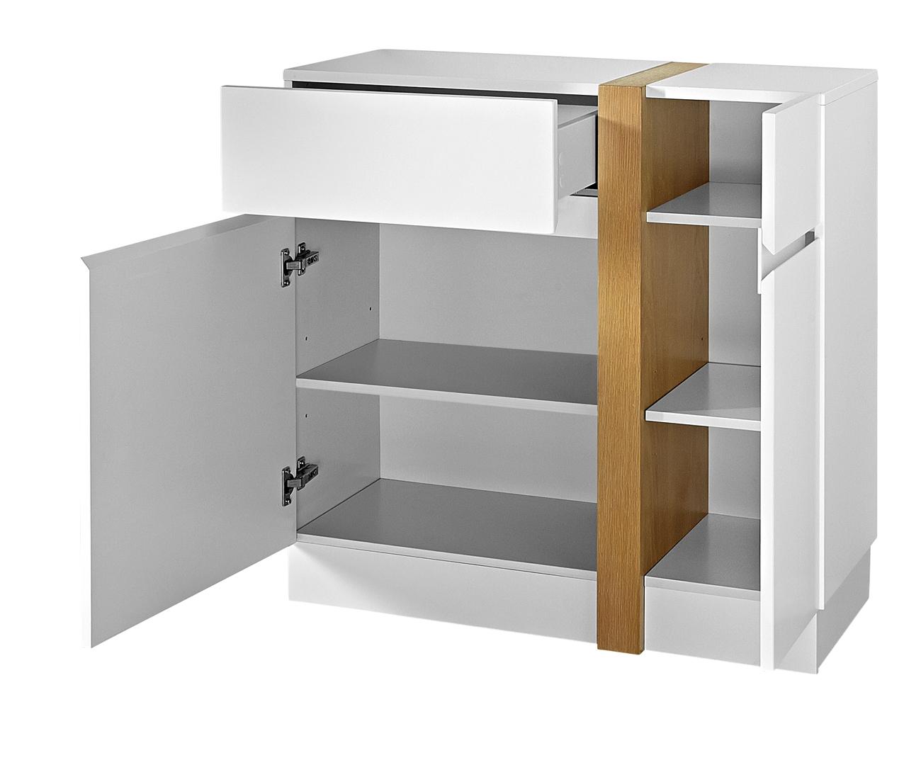 Meuble de rangement contemporain 2 portes/1 tiroir blanc laqué mat Oswald