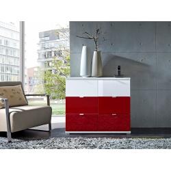 Meuble de rangement design 6 tiroirs blanc/rouge Dolaro
