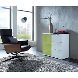 Meuble de rangement design 1 porte/3 tiroirs blanc/vert Dolaro