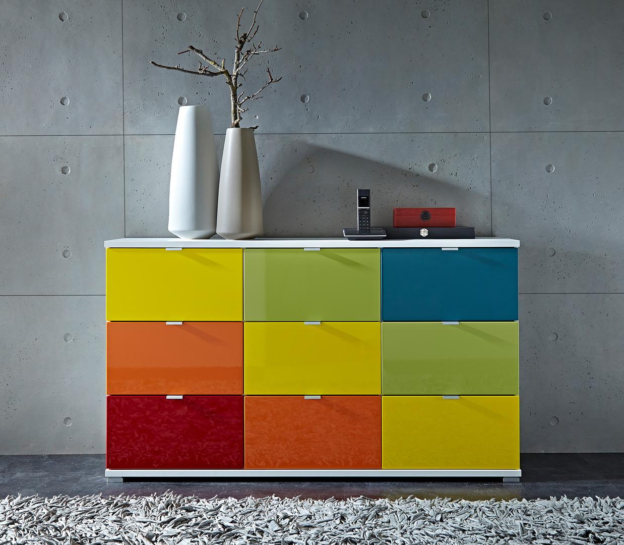 Meuble de rangement design 9 tiroirs blanc/multicolore Dolaro