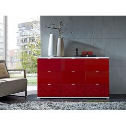 Meuble de rangement design 9 tiroirs blanc/rouge Dolaro
