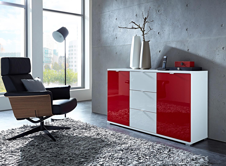 Meuble de rangement design 2 portes/3 tiroirs blanc/rouge Dolaro
