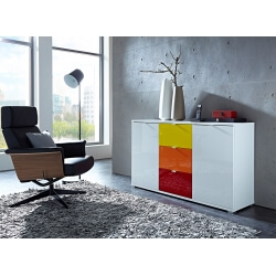 Meuble de rangement design 2 portes/3 tiroirs blanc/multicolore Dolaro