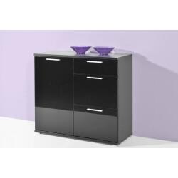 Buffet/bahut design 1 porte/3 tiroirs noir brillant Ameria